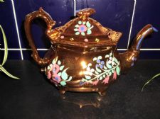 ANTIQUE COPPER LUSTRE TEAPOT PINK HANDPAINTED HAREBELLS DAISY SERPENT ? HANDLE